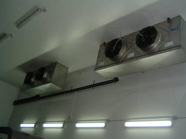 Evaporatori all´interno di una cella frigo per la conservazione di pelli grezze e pelli pregiate