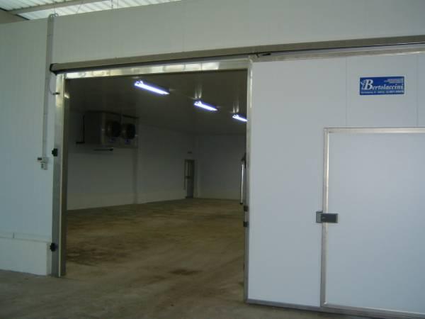 Cella frigorifera per conservazione pelli con portone sigillante scorrevole e porta di servizio