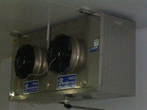 Evaporatore all´interno cella frigo per conservazione pelli